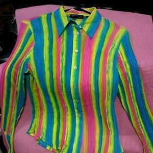 Neon button up shirt. Super cute